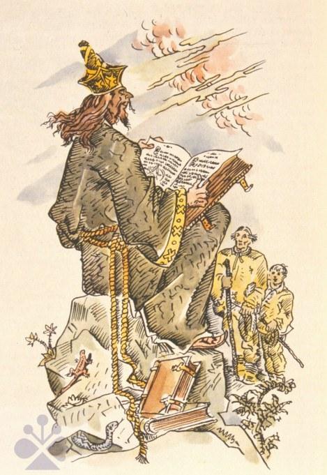 5c29b073e Černokňažník v ilustrácii k rovnomennej rozprávke v zbierke P. Dobšinského.  Prevzaté z Dobšinský,