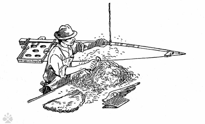 0162aede1 Fachovanie - ukladanie vlny do vrstvy (fach), z ktorej sa plstil klobúk.
